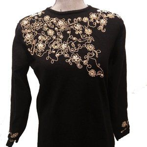 Vintage 1980s Black Wool and Faux Pearl Embroidered Sweater